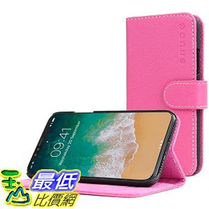 [106美國直購] 手機保護殼 iPhone X Case Snugg Hot Pink Leather Flip Case Card Slots Executive Apple