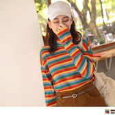 《AB11221》針織高領配色條紋寬袖上衣 OrangeBear