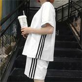 運動套裝新款夏季時尚休閒運動兩件套韓版潮學生寬鬆原宿bf短褲套裝女 喵小姐