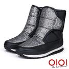 雪靴 注目焦點防潑水厚底運動雪靴(銀黑)* 0101shoes 【18-3695bk】【現貨】