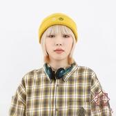 日系針織帽男女毛線帽保暖帽子黑白笑臉款【櫻田川島】