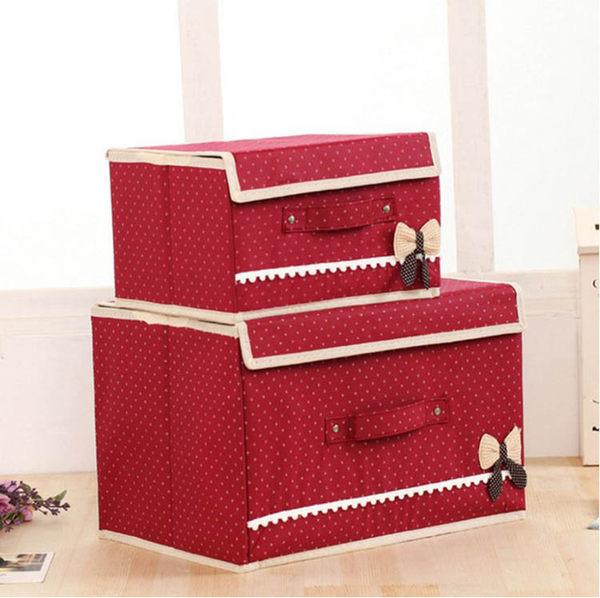 收納箱【BNA049】點點蝴蝶結無紡布收納箱23L 衣物收納箱 小物收納箱仿麻布收納箱-123ok