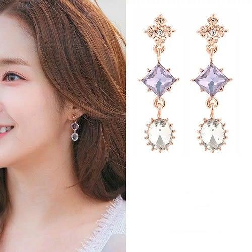 【NiNi Me】韓系耳環 925銀針 韓劇她的私生活 氣質甜美復古水晶鋯石耳環 耳環 N0454
