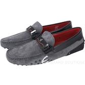 TOD'S For Ferrari 麂皮拼接躍馬標誌豆豆鞋(男鞋/深灰色) 1740453-11