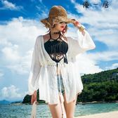 白色v領泳衣罩衫海邊度假防曬衫