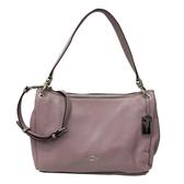 【COACH】經典LOGO全牛皮肩背斜背包兩用包馬鞍包(木槿紫)