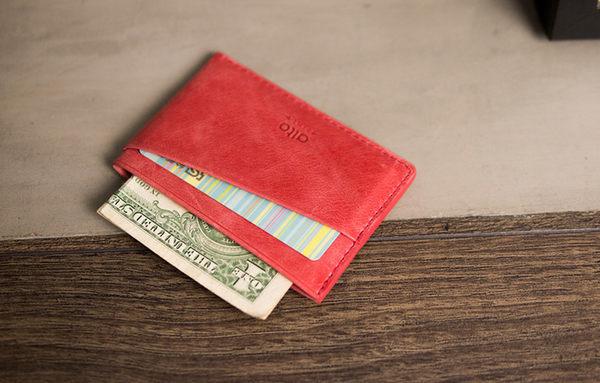 輕便名片夾 Slim Card Holder - 珊瑚紅【可加購客製雷雕】卡夾 鈔票夾