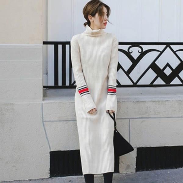 Qmigirl 韓版撞色坑條高領針織連身裙 洋裝【T1174】