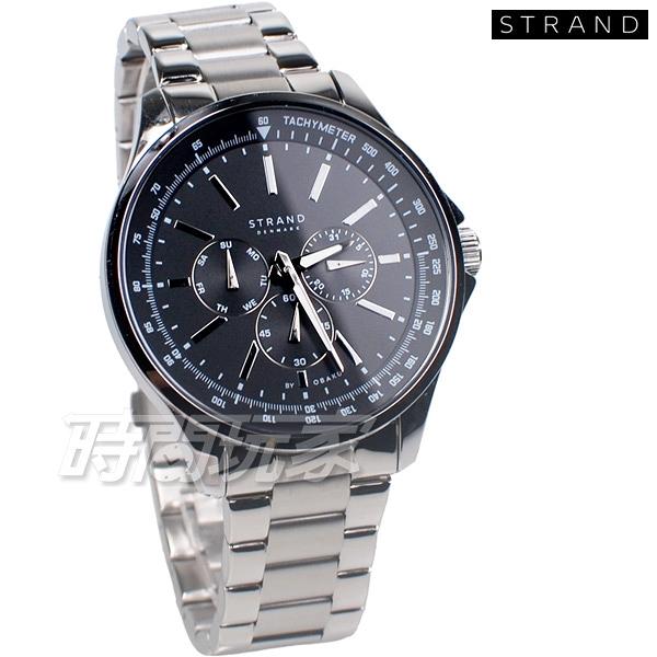 STRAND BY OBAKU 強烈視覺效果 賽車錶 三眼多功能錶 黑色 不銹鋼 男錶 S708GMCBSC