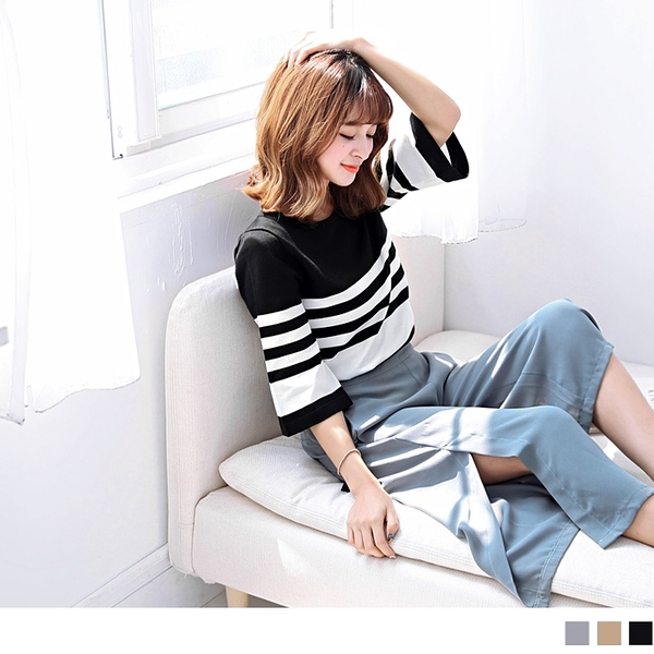 《FA0922》日系文青配色條紋七分寬袖細針織上衣--適 XL~4L OrangeBear