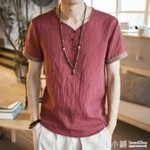 棉麻T恤~中國風復古男裝亞麻T恤男士短袖寬鬆大碼休閒盤扣麻料棉麻上衣薄