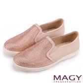 MAGY 甜美休閒 閃耀水晶鑽飾真皮樂福平底鞋-粉紅