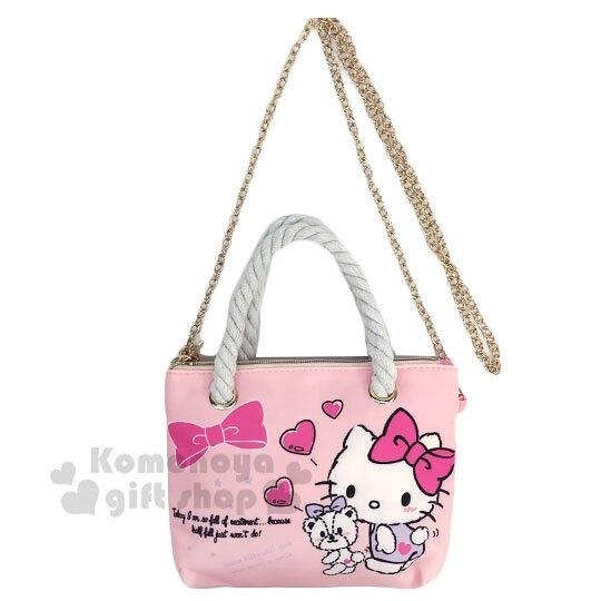 〔小禮堂〕Hello Kitty 尼龍麻繩斜背觸控手機包《粉.紫洋裝》手提包.化妝包.斜背包 4711907-31002