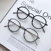 歐美時尚小圓框平光鏡男女學院風彩腳橢圓框素顏裝飾框架眼鏡三角衣櫥