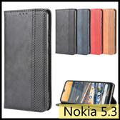 【萌萌噠】諾基亞 Nokia 5.3 復古紋商務款 錢包式側翻皮套 可插卡磁吸 全包軟殼 手機殼 手機殼