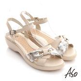 A.S.O 憶型氣墊 真皮金箔結飾奈米涼鞋 卡其