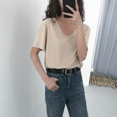 5siss溫柔簡約風V領針織莫代爾短袖T恤女夏學生2020新款打底上衣
