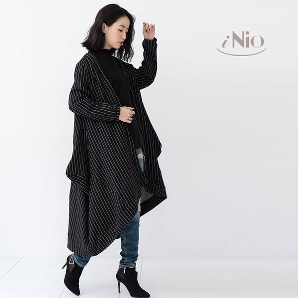 自然率性長版風衣大衣外套(S-L適穿)-現貨快出【C8W4106】 iNio 衣著美學