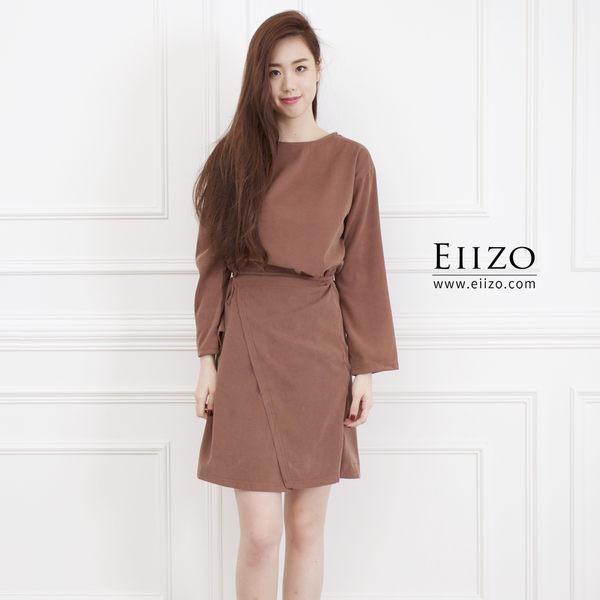 【EIIZO】簡約綁帶寬鬆棉質洋裝(咖啡)