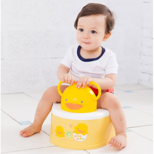 【奇買親子購物網】黃色小鴨二段式功能造型幼兒便器(黃色/白色)