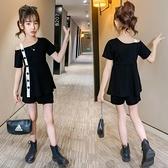 吊帶裙 夏季新款洋氣時髦吊帶洋裝兒童短袖兩件套潮女童套裝夏裝