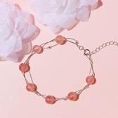 雙層純銀天然草莓晶粉水晶手錬女韓版招桃花簡約清新學生森系閨蜜