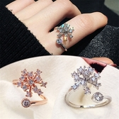 #戒指#雪花#鑲鑽 水晶 個性 簡約 清新 開口 戒指