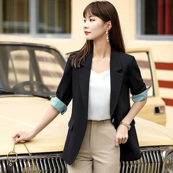 五分配色袖上班/休閒長版西裝外套[20X031-PF]小三衣藏