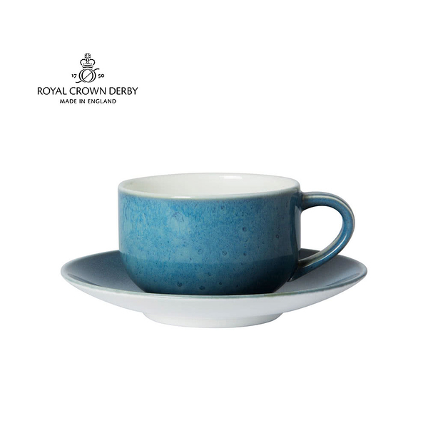 英國Royal Crown Derby-Art Glaze藝術彩釉系列-8OZ杯盤組-滄藍