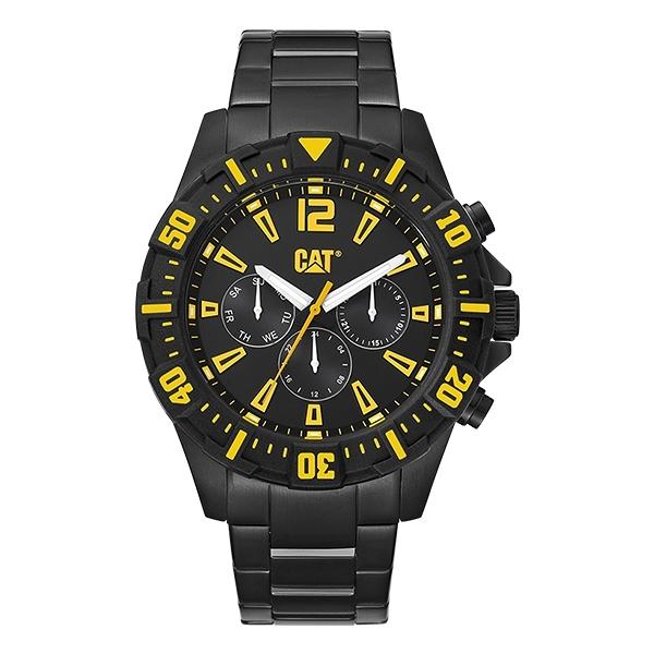 【CAT Watch】STEER時尚三眼鋼帶腕錶-霸氣黑/PX.169.12.137/台灣總代理公司貨享兩年保固
