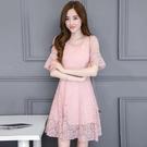 短袖洋裝 蕾絲連身裙收腰中長款修身顯瘦短袖韓版裙子