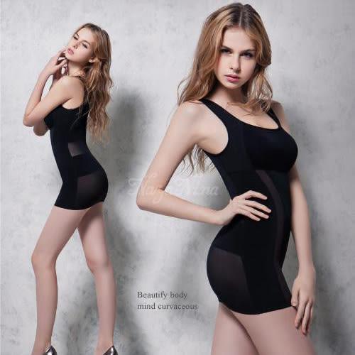 塑身衣 加強纖腰長版寬肩M-XXL 黑  Naya Nina 雙弧推塑 長版背心《生活美學》