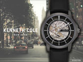 【時間道 】KENNETH COLE 都會簡約機械鏤空腕錶/黑圈黑皮(KC50227003)免運費