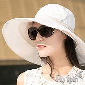 防曬帽子-女款超大眉檐可折疊收納格紋織棉布兩用遮陽淑女帽13SS-S051 FLYSPIN菲絲品