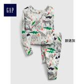 Gap男嬰幼童 休閒動物印花長袖睡衣套裝 400086-旅途灰