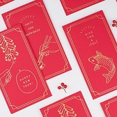 【BlueCat】信的戀人 英文祝福金邊框蝴蝶結燙金紅包袋 紅包 (6入裝)