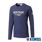 K-SWISS Heritage Flag Tee印花長袖上衣-男-藍