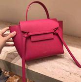 專櫃75折■Celine 珠地小牛皮袖珍型NANO BELT手袋包 淡粉紅色