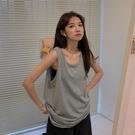 無袖上衣 吊帶背心無袖T恤女夏外穿潮內搭長款寬鬆bf灰色跨欄純棉打底上衣 韓國時尚週