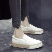 草編樂福鞋小白鞋女生帆布鞋正韓平跟黑白色布鞋學生一腳蹬懶人鞋【快速出貨】