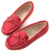 amai舒適升級。磨砂牛皮蝴蝶結綁帶豆豆鞋 紅