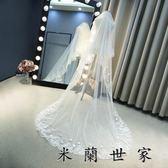 新娘頭紗婚紗新款頭紗花朵蕾絲拖尾