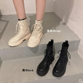 L-馬丁靴女針織靴秋季新款時尚英倫風百搭系帶厚底拼接短靴子