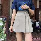 半身裙2020春季新款韓版防走光百搭A字百褶裙高腰顯瘦氣質半身裙短裙女