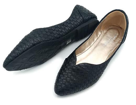 大尺碼女鞋小尺碼女鞋獨特設計尖頭修飾編織款娃娃鞋平底鞋休閒鞋黑色(31-43444546)#七日旅行