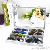 冰花絨有蓋玻璃眼鏡箱太陽鏡收納箱眼鏡收納盒眼鏡收藏箱眼鏡展示 美芭