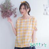 betty's貝蒂思 格紋圓領短袖上衣(黃色)