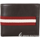 BALLY 經典條紋織帶八卡短夾(巧克力色) 1310737-07