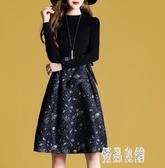 長袖OL洋裝 秋裝針織拼接提花毛衣裙子2019新款系帶印花連身裙 XN5136【優品良鋪】