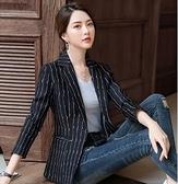 現貨黑M西裝外套條紋小西裝外套女韓版氣質百搭小香風修身休閒西服外套9530